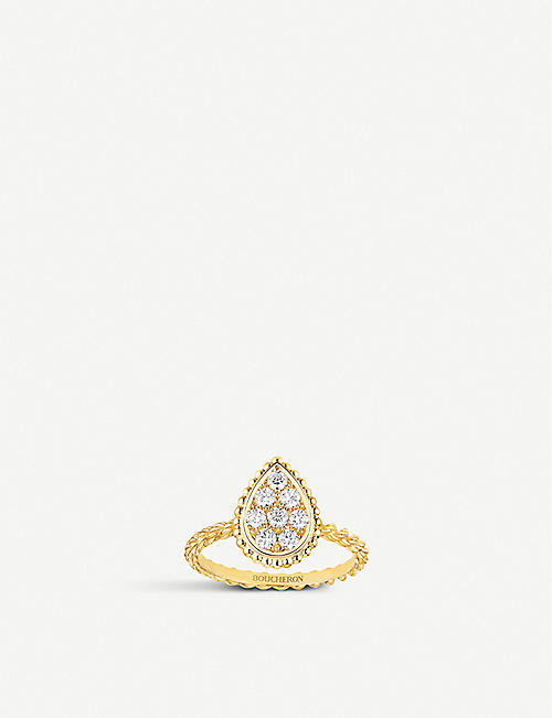 BOUCHERON: Serpent Bohème 18ct yellow-gold and 0.15ct diamond ring