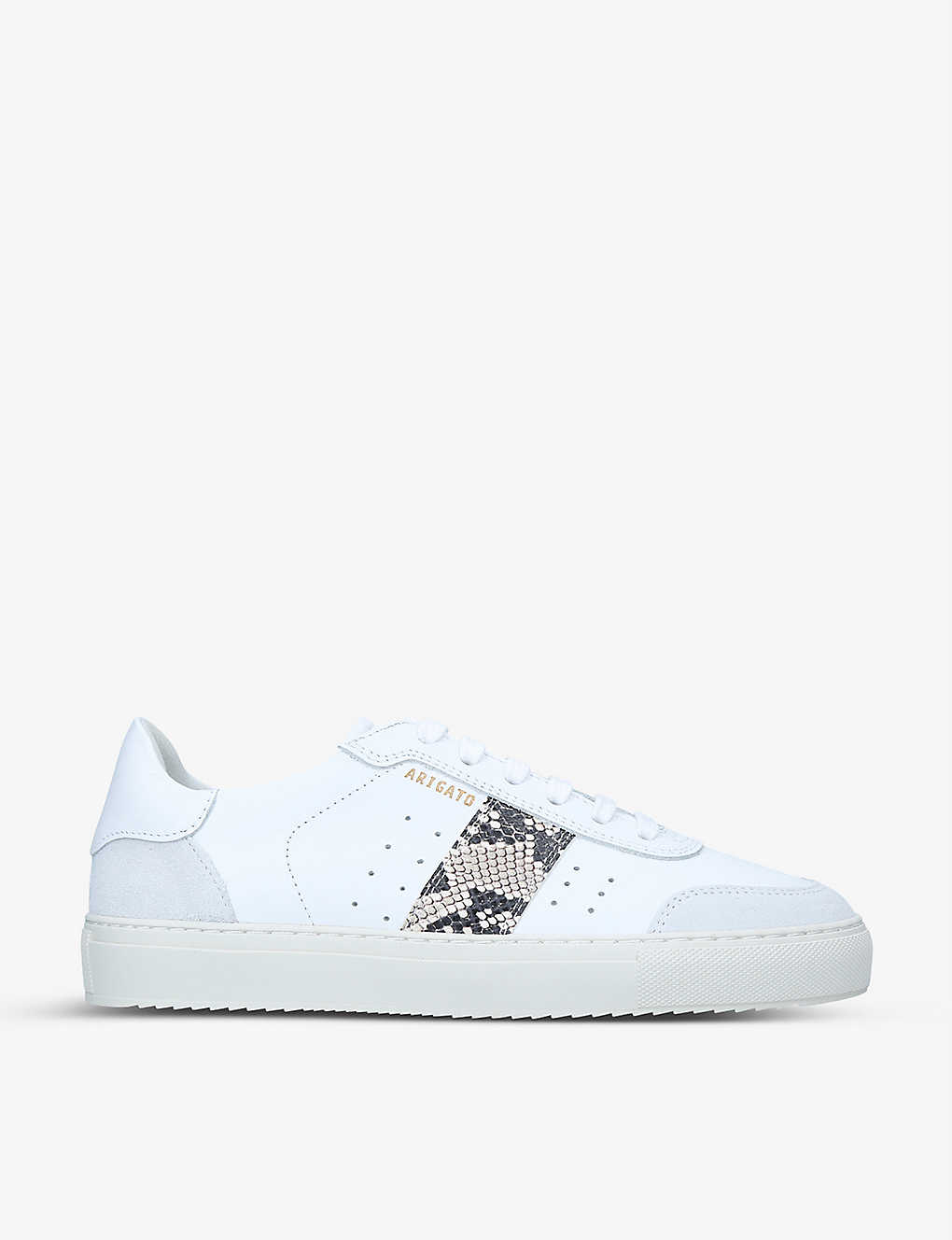 AXEL ARIGATO: Dunk snakeskin-embossed panel leather and suede trainers