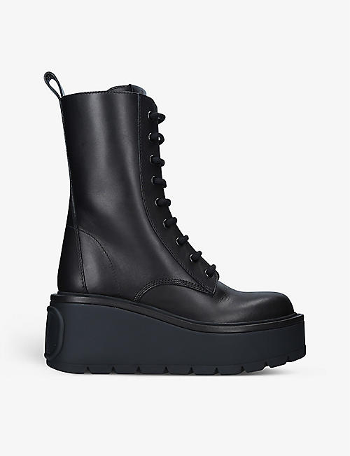 VALENTINO GARAVANI: Logo-embossed leather combat boots