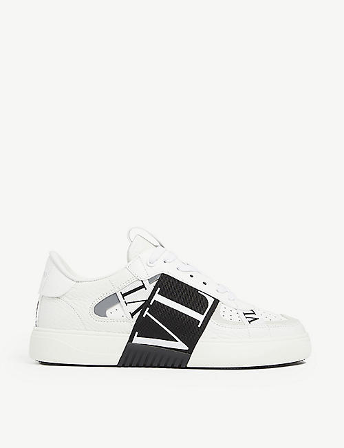 VALENTINO GARAVANI: VLTN logo-print leather trainers