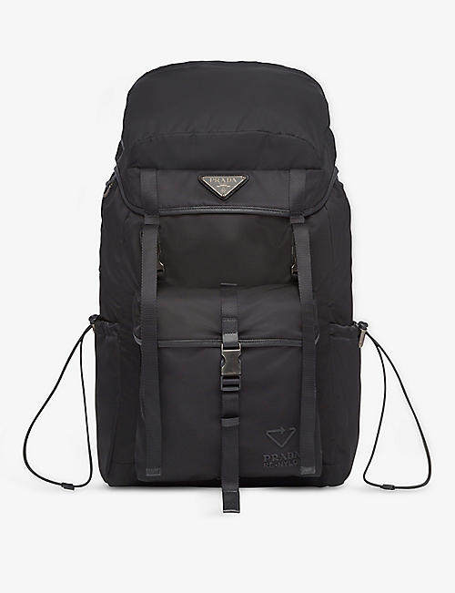 PRADA: Logo-patch recycled-nylon backpack