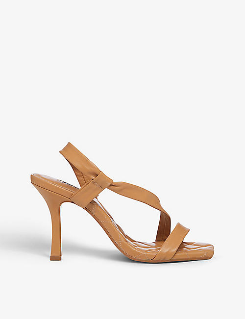 DUNE: Marbled asymmetric quilted leather sandals