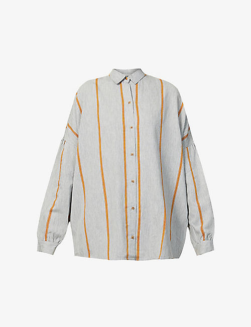 SESSUN: Striped woven shirt