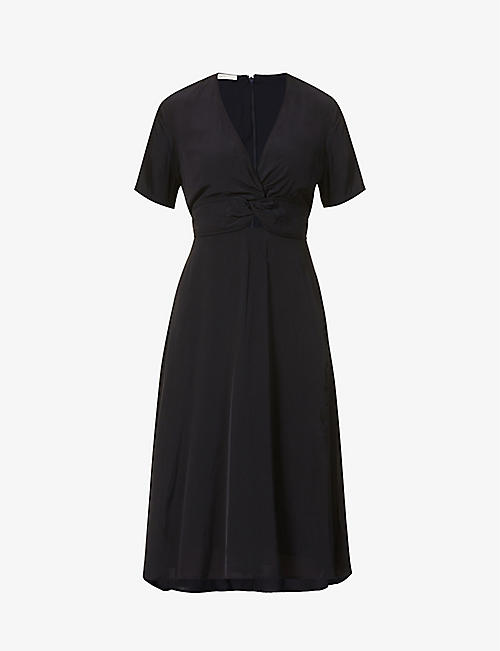 SESSUN: Anabella twist-knot crepe midi dress