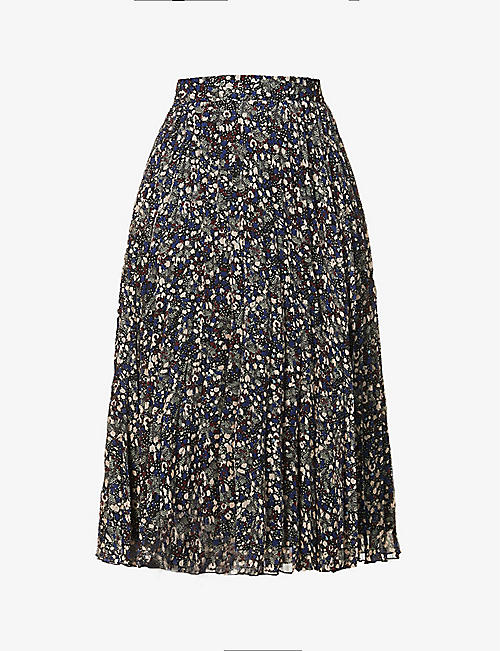SESSUN: Nu Coleen pleated high-waisted woven midi skirt