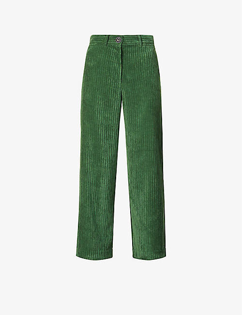 SESSUN: Cybill straight-leg high-rise corduroy trousers