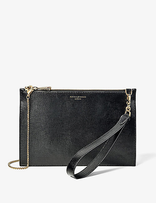 ASPINAL OF LONDON: Soho lizard-embossed leather clutch