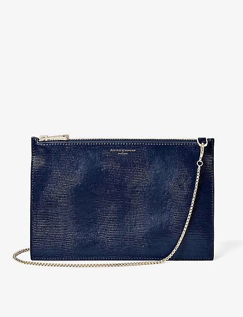 ASPINAL OF LONDON: Soho lizard-embossed leather shoulder bag