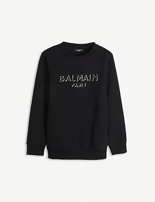 BALMAIN: Logo-print cotton jumper 4-16 years