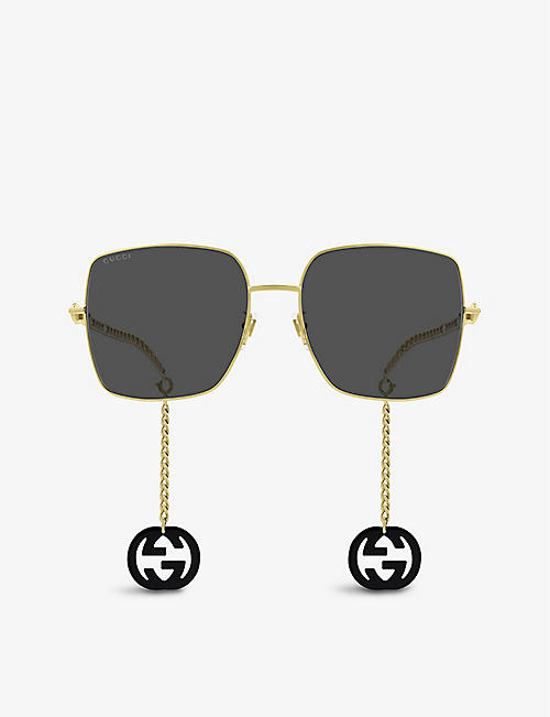 GUCCI: GG0724S metal rectangle-shape sunglasses