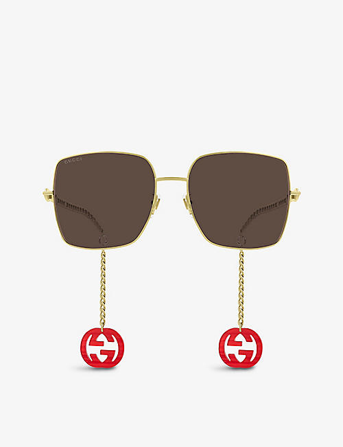 GUCCI: GG0724S branded square-frame metal and acetate sunglasses