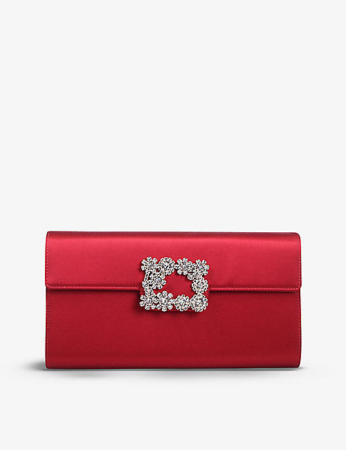 ROGER VIVIER: Flower Strass Buckle diamante-embellished satin clutch bag