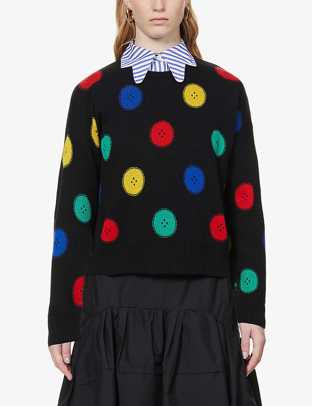 BENETTON: Button-intarsia cotton-blend knitted jumper