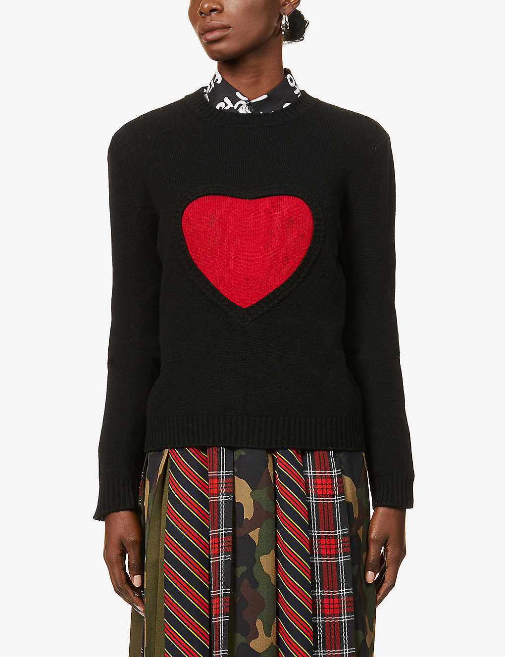 BENETTON: Graphic pattern wool-blend jumper