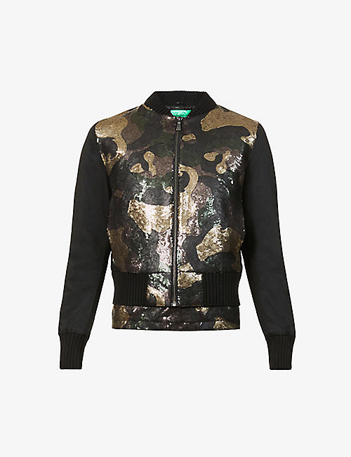 BENETTON: Camouflage-print sequinned bomber jacket