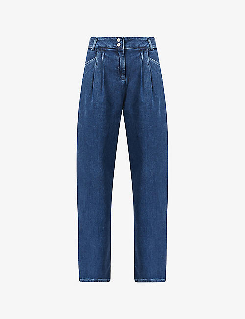 BENETTON: High-rise relaxed stretch-denim jeans