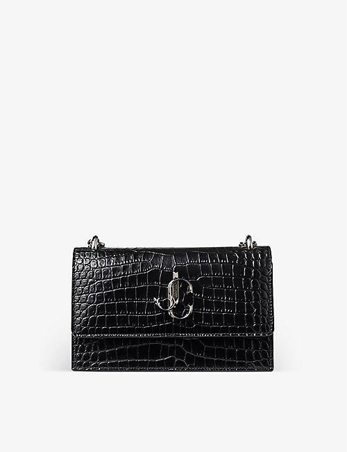 JIMMY CHOO: Bohemia crocodile-embossed leather clutch bag