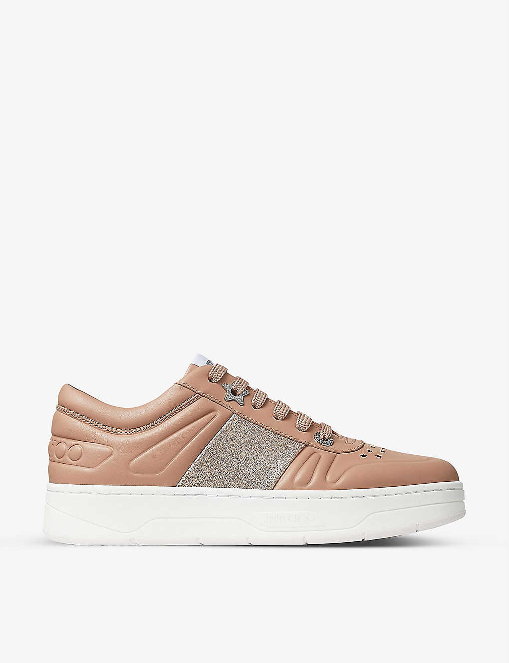 Jimmy Choo Leathers HAWAII GLITTER-PANELLED LEATHER TRAINERS