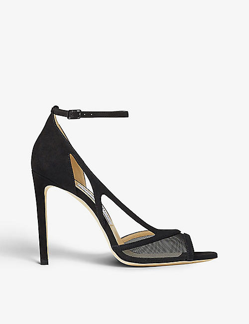 JIMMY CHOO: Liu 100 mesh-panelled suede stiletto heels