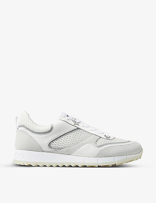 JIMMY CHOO: Java leather and textile trainers