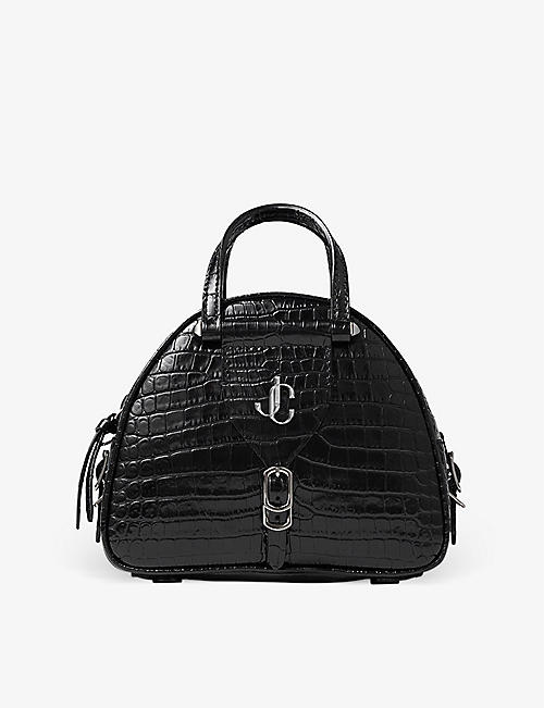 JIMMY CHOO: Varenne crocodile-embossed leather bowling bag