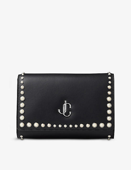 JIMMY CHOO: Varenne leather and pearl clutch bag