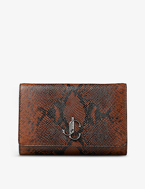 JIMMY CHOO: Varenne snakeskin-embossed leather clutch bag