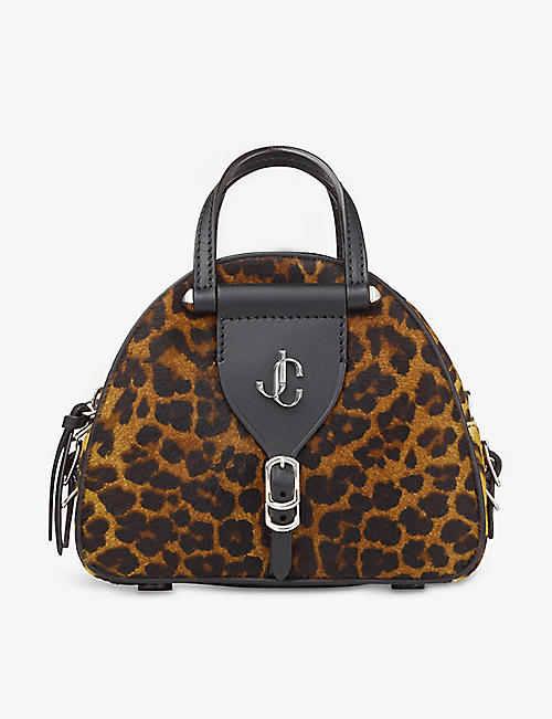 JIMMY CHOO: Varenne mini leopard-print pony hair and leather bowling bag
