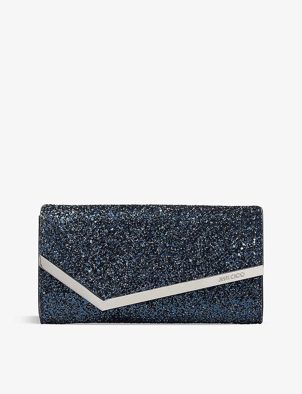 JIMMY CHOO: Emmie glitter-embellished clutch