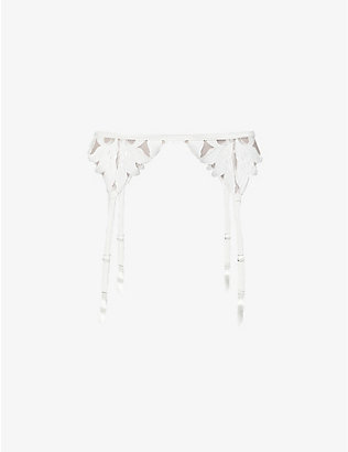 FLEUR DU MAL: Lily embroidered high-rise mesh suspender belt