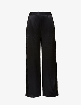 FLEUR DU MAL: Rose lace-trim wide-leg silk-satin pyjama bottoms