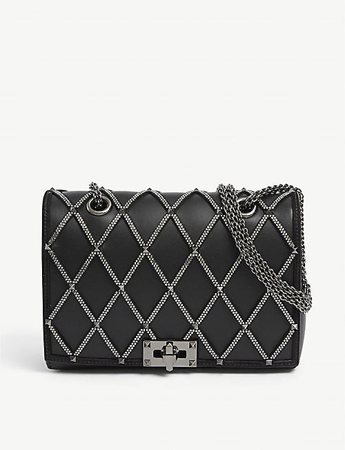 VALENTINO GARAVANI: Crystal-embellished leather shoulder strap