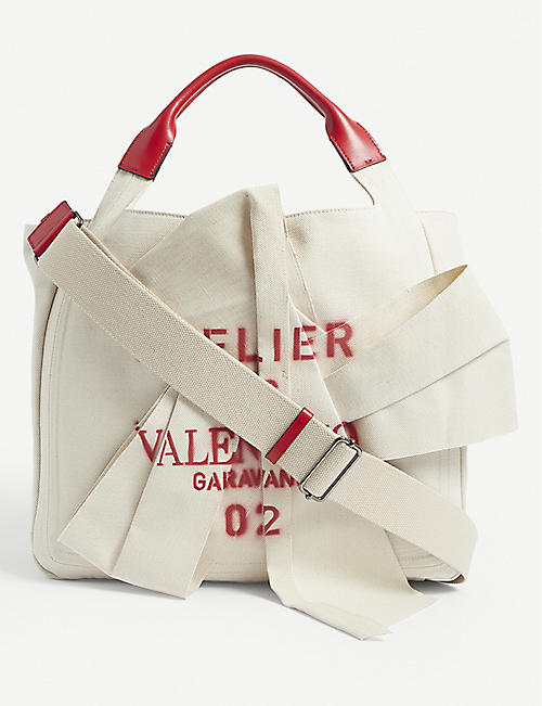 VALENTINO GARAVANI: Atelier 02 Bow canvas tote bag