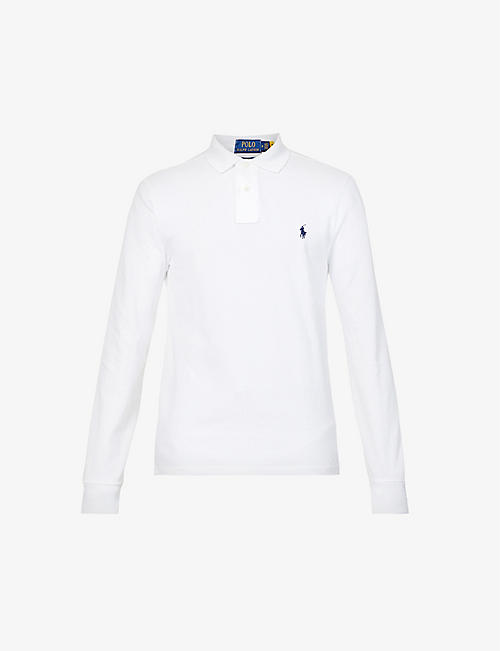 POLO RALPH LAUREN: Logo-embroidered cotton-piqué polo shirt
