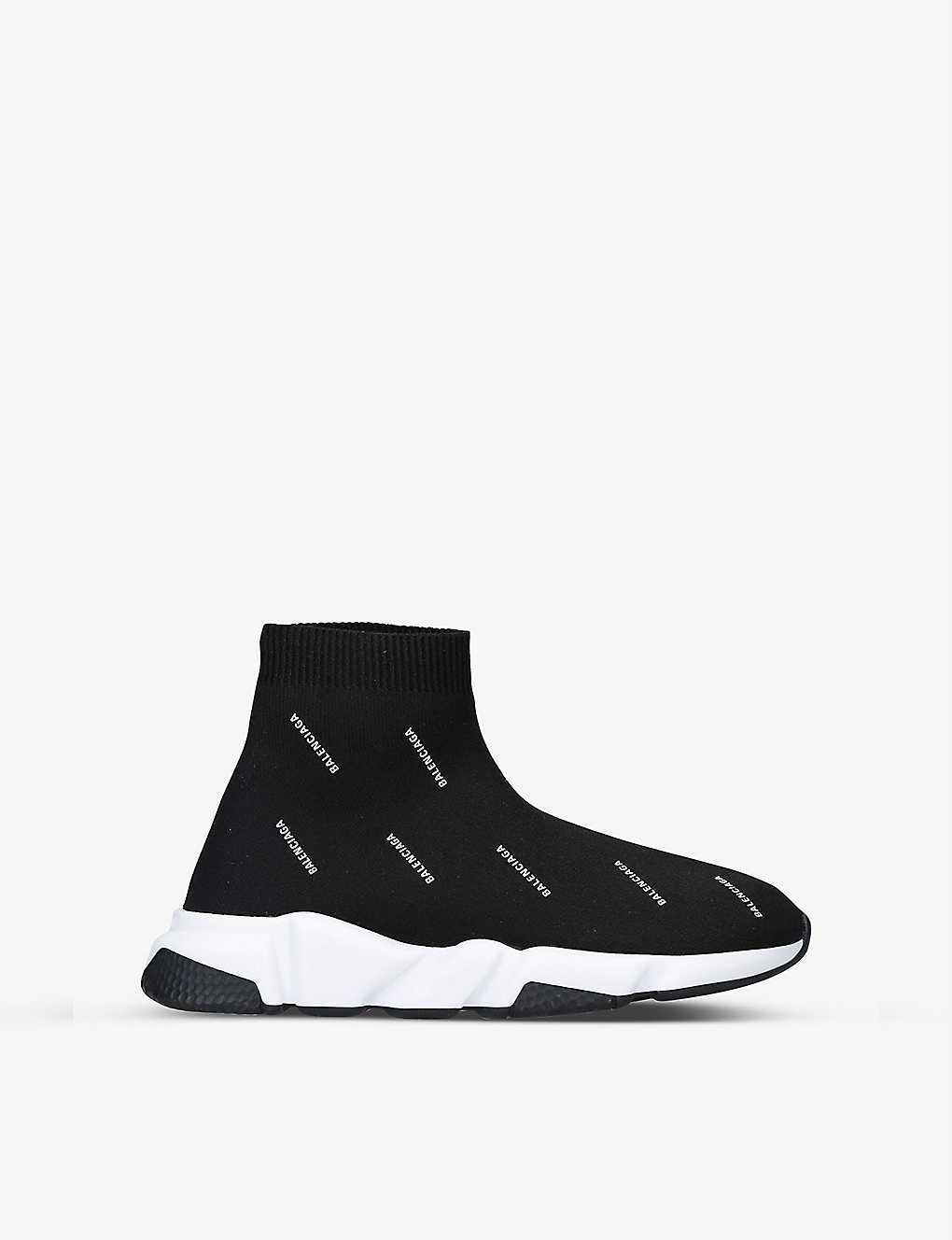 BALENCIAGA: Speed logo-print mid-top stretch-knit trainers 6-7 years