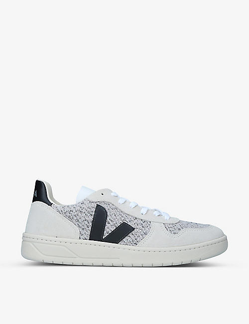 VEJA: V-10 recycled-flannel and suede trainers