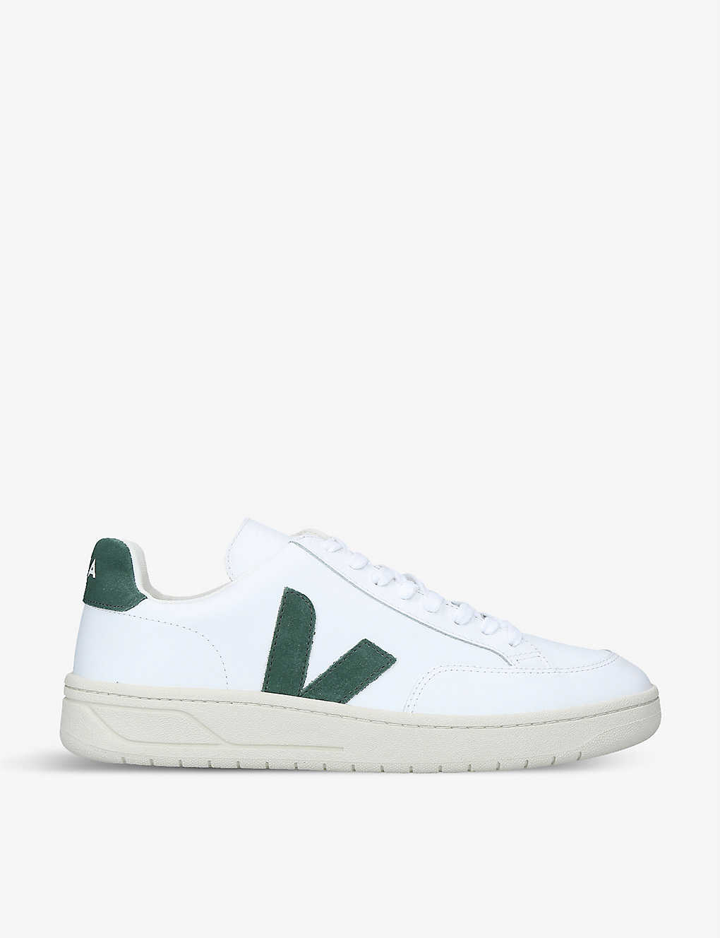 VEJA: V12 brand-embroidered leather mid-top trainers