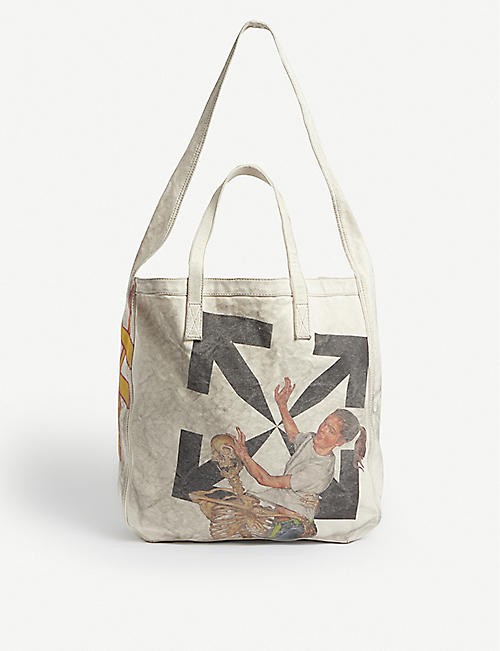 OFF-WHITE C/O VIRGIL ABLOH: Graphic-print cotton tote