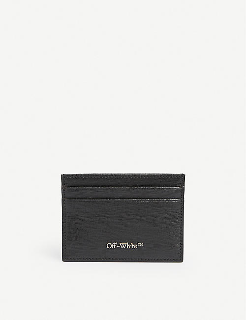 OFF-WHITE C/O VIRGIL ABLOH: Textured logo-plaque leather cardholder