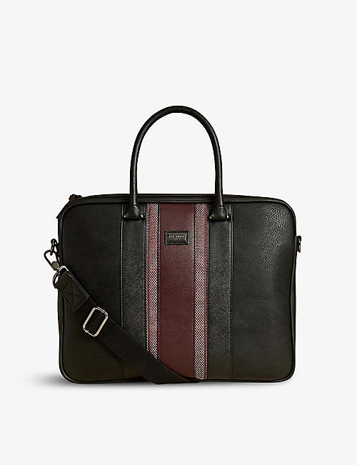 TED BAKER: Newbee webbing-detail faux-leather document bag