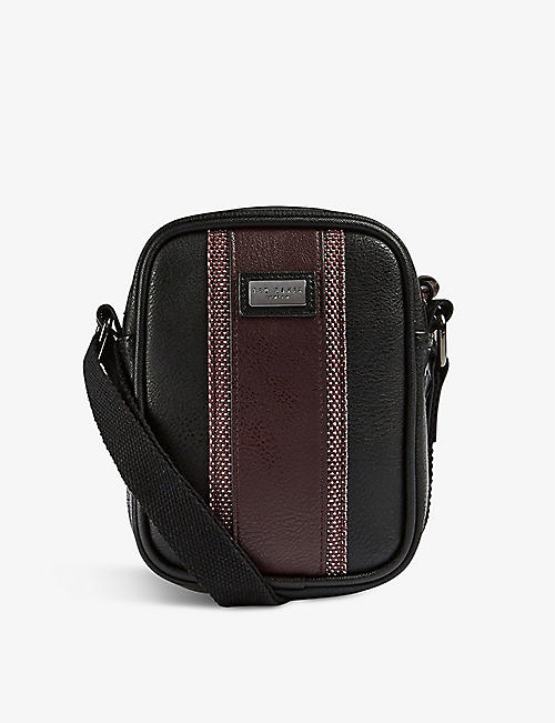 TED BAKER: Webbing logo-embossed leather flight bag