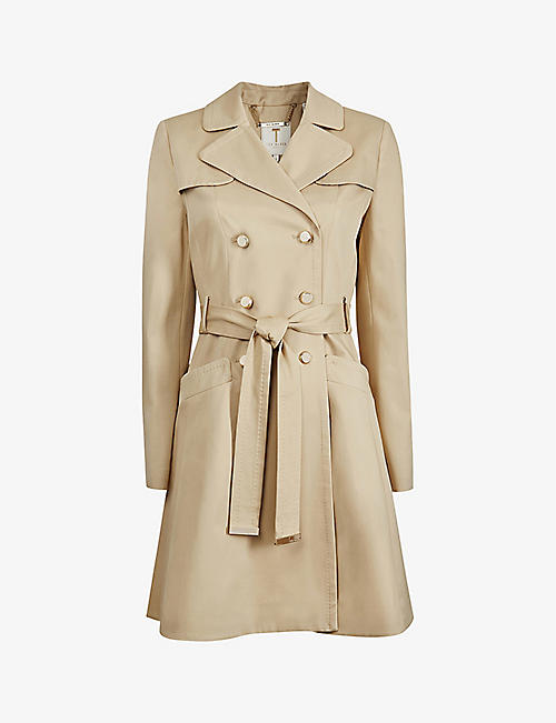 TED BAKER: Pandura flared stretch-cotton mac coat