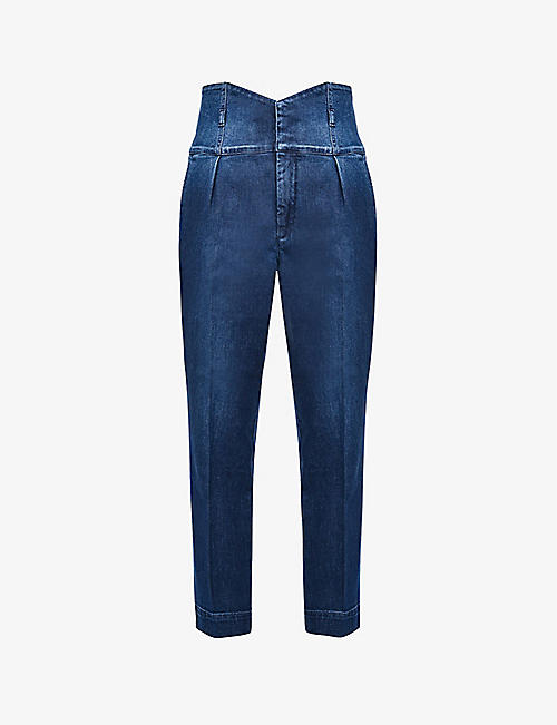 PINKO: Ariel tapered high-rise stretch-denim jeans