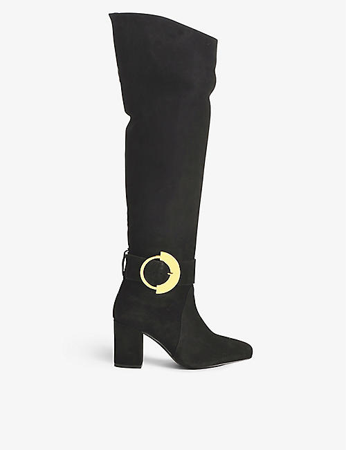 PINKO: Laetitia thigh-high suede heel boots