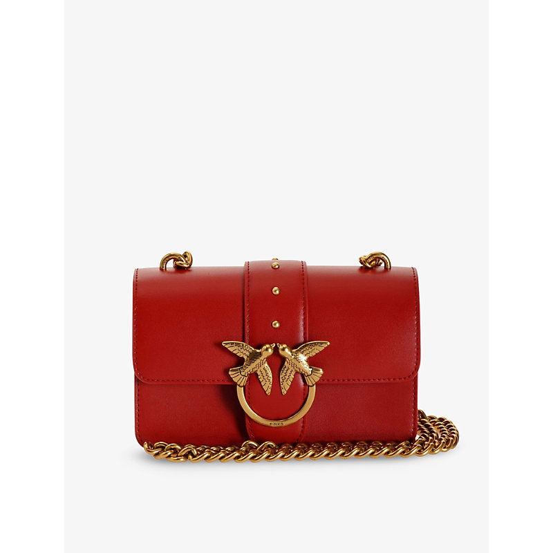 Pinko Love Simply Leather Shoulder Bag In Red