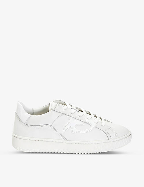 PINKO: Liquirizia logo leather trainers
