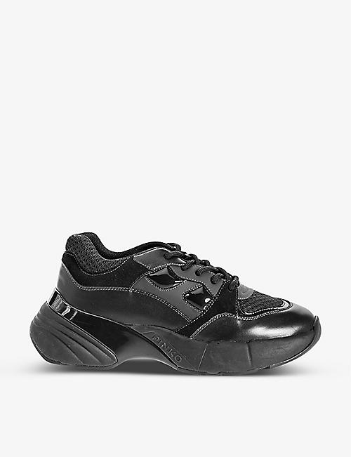 PINKO: Rubino panelled faux-leather chunky trainers
