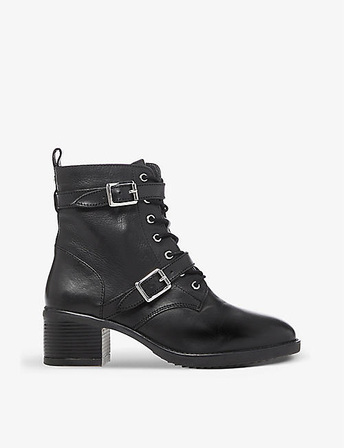 DUNE: Paxtone buckle-detail lace-up boots
