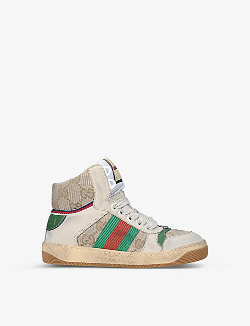GUCCI: Screener leather high-top trainers 6-12 years