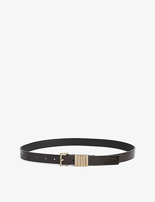ALLSAINTS: Jet logo-embossed leather belt